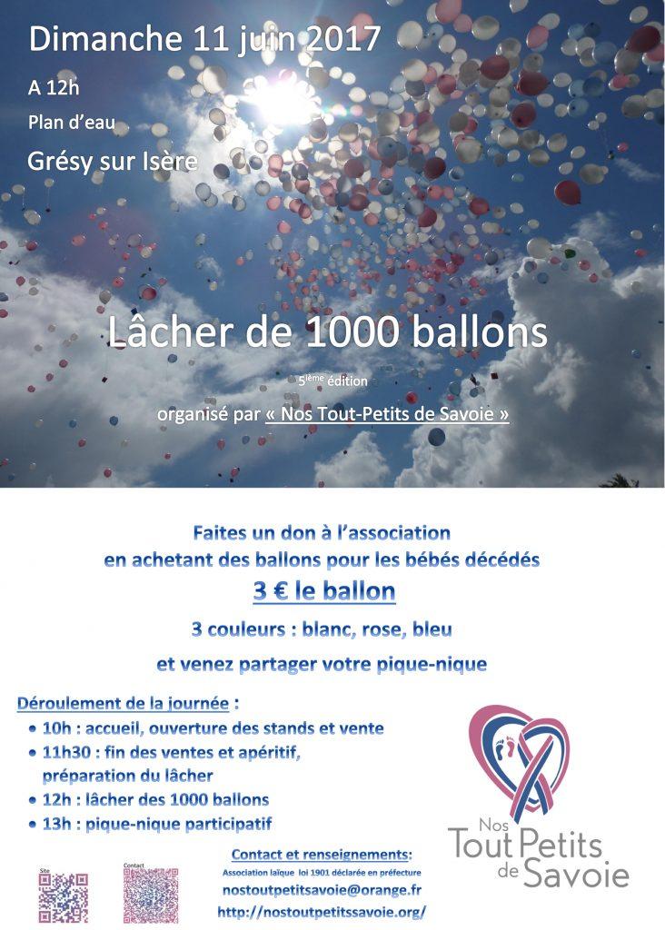 Lâcher de ballons 2017 Nos tout petits de Savoie, Association de soutien aux familles<br />  touchées par le décés d'un bébé